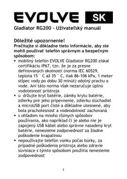 Gladiator RG200 - Užívateľský manuál Dôležité
