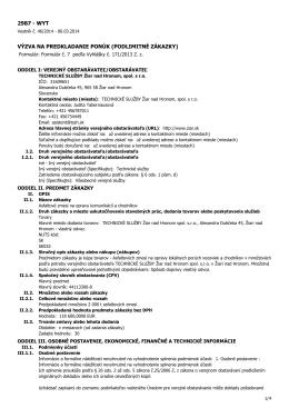 2987 - wyt výzva na predkladanie ponúk (podlimitné zákazky)