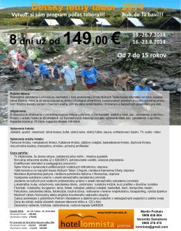 Detský letný tábor 2014 - Relax Hotel Lomnista Jasenie