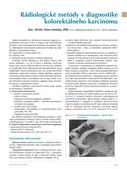 Rádiologické metódy v diagnostike kolorektálneho karcinómu
