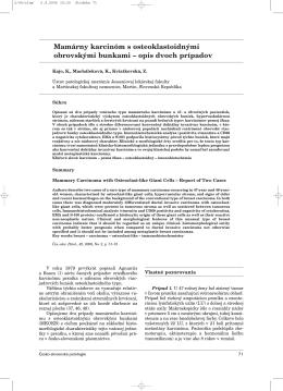 Mamárny karcinóm s osteoklastoidnými obrovskými bunkami – opis