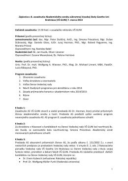 Zápisnica AS 8/2014 [.pdf] - Hochschule Goethe Uni Bratislava