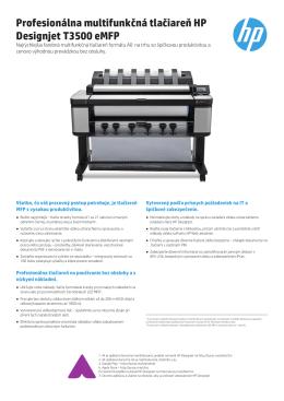Profesionálna multifunkčná tlačiareň HP Designjet T3500 eMFP