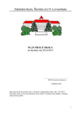 Plán práce školy - Základná škola Lovinobaňa