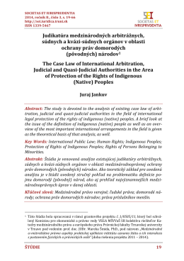 Judikatúra medzinárodných arbitrážnych, súdnych a kvázi