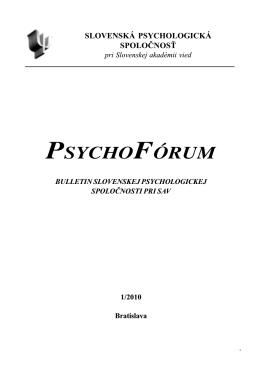 Číslo 1/2010 - Slovenská psychologická spoločnosť pri SAV