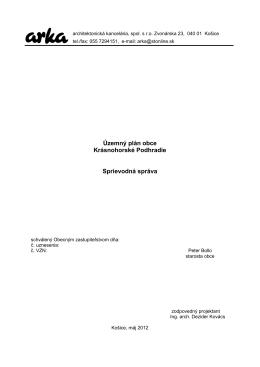 Územný plán obce Krásnohorské Podhradie Sprievodná správa