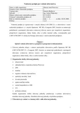 Vnútorný predpis pre vedenie účtovníctva