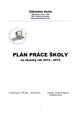 PLÁN PRÁCE ŠKOLY - Základná škola v Bátorových Kosihách