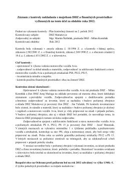 Záznam z kontroly DHZ 2012