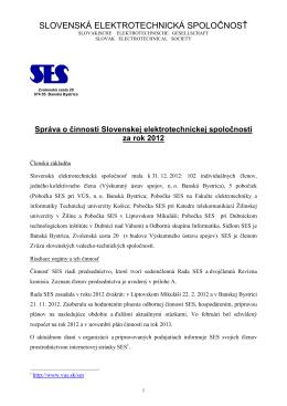 Výročná správa SES za rok 2012