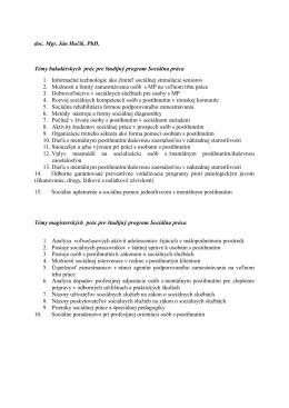 doc. Mgr. Ján Hučík, PhD. Témy bakalárskych prác pre študijný
