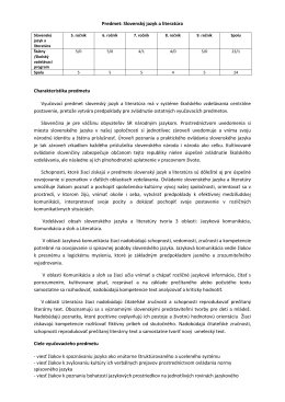 Predmet: Slovenský jazyk a literatúra