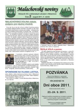 POZVÁNKA - Malachov