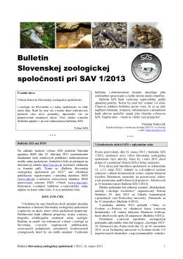 2013/1 - Slovenská zoologická spoločnosť pri SAV
