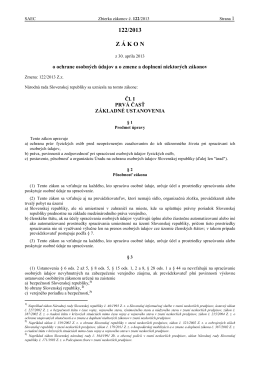 Zakon 122_2013 Ochrana osobnych udajov