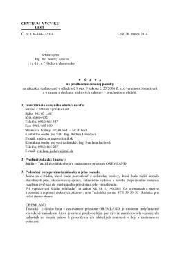 Výzva na predkladanie ponúk [pdf]