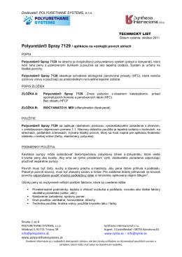 Dodávateľ: POLYURETHANE SYSTEMS, s.r.o. TECHNICKÝ LIST