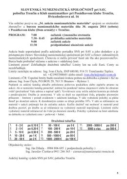 54. aukcia SNS pri SAV, pobočka Trenčín 30. 8. 2014 v pdf