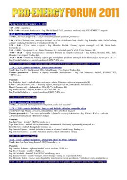 Program konferencie - 1. deň - PRO