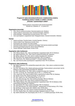 Program XI. česko-slovenskej konferencie s