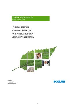 Cenník Ecolab 2013