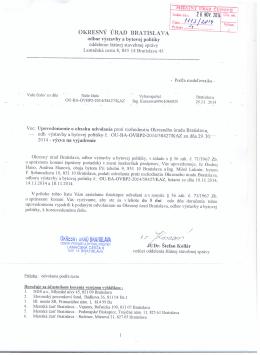 Verejná vyhláška, Okr.úrad Bratislava, odbor výstavby a bytovej