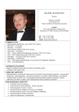 Prof.RNDr. Ján Dusza, DrSc. - Ústav materiálového výskumu SAV