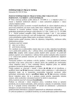 INŠPEKTORÁT PRÁCE NITRA - Národný inšpektorát práce