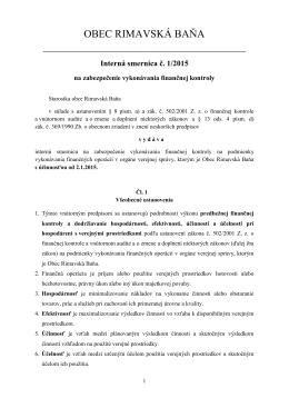 Interná smernica č. 1/2015