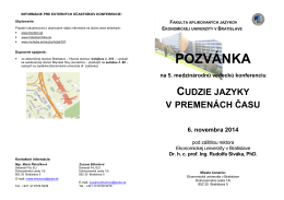 (Pozvánka CJvPČ V - SJ) - Ekonomická univerzita v Bratislave