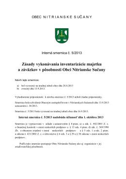 Interná smernica č. 5/2013 Zásady vykonávania