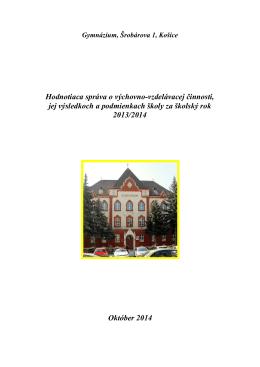 Hodnotiaca správa o výchovno-vzdelávacej činnosti, jej