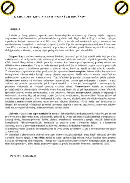 4. CHOROBY KRVI A KRVOTVORNÝCH ORGÁNOV Anémia