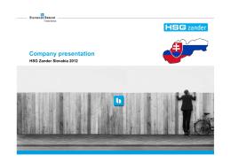 Company presentation - HSG Zander Slovakia