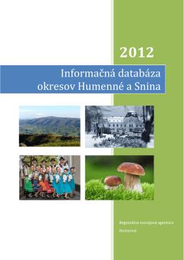 Informačná databáza - Regionálna rozvojová agentúra Humenné