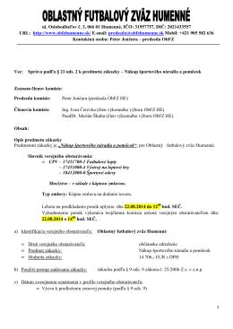 Správa podľa § 21 ods. 2. - Oblastný futbalový zväz Humenné