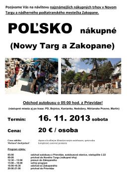 POĽSKO nákupné (Nowy Targ a Zakopane)