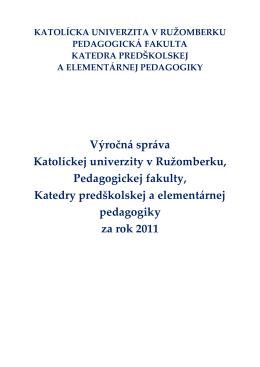 Výročná správa katedry za rok 2011