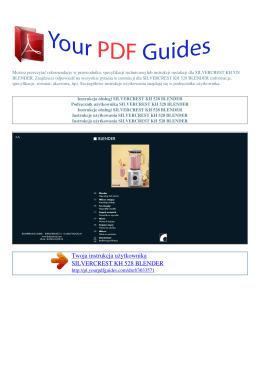 Instrukcje obsługi SILVERCREST KH 528 BLENDER
