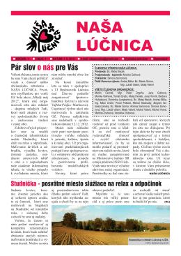Číslo 1/2013 - Občianske združenie NAŠA LÚČNICA, vydavateľ