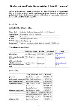 Obchodná akadémia, Komenského 1, 066 01 Humenné