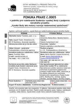 PONUKA PRAXE č.0005 - Vysoké školy ako motory rozvoja