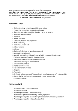 LEKÁRSKA PSYCHOLÓGIA A KOMUNIKÁCIA S PACIENTOM