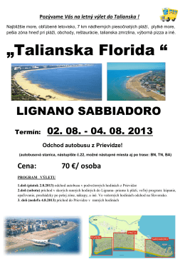 """""""Talianska Florida """" - Cestovná agentúra Výletovo"""