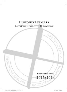 FILOZOFICKÁ FAKULTA A - Katolícka univerzita v Ružomberku