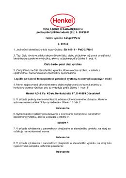 Vyhlásenie o parametroch Tangit PVC-C
