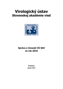 Výročná správa Virologického ústavu SAV 2010 [PDF]