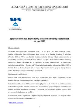 Výročná správa SES za rok 2013