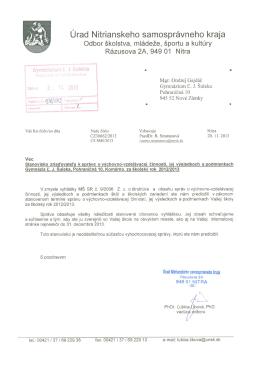 Správa o VVČ - Gymnázium Ľudovíta Jaroslava Šuleka Komárno